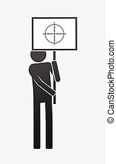 Isolated demonstrator with a crosshair - Illustration of an ...