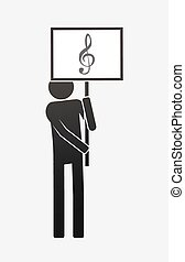 Isolated demonstrator with a g clef - Illustration of an...