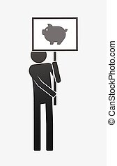 Isolated demonstrator with a pig - Illustration of an ...