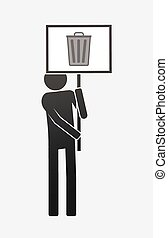 Isolated demonstrator with a trash can - Illustration of an ...