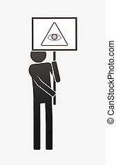 Isolated demonstrator with an all seeing eye