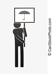 Isolated demonstrator with an umbrella - Illustration of an ...