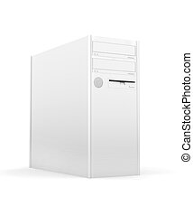 Isolated Desktop PC - 3D rendered PC Tower. Isolated on...
