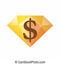 Isolated diamond with a dollar sign