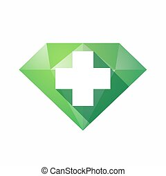 Isolated diamond with a pharmacy sign