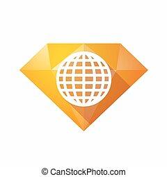 Isolated diamond with a world globe