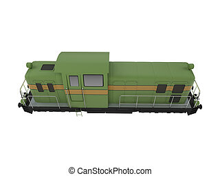 isolated diesel green train - isolated green train over...