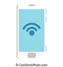 Isolated digital smartphone iwth wifi icon vector design