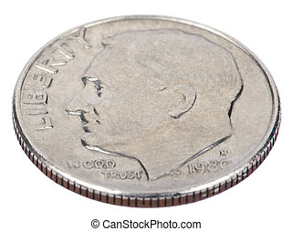 The obverse side of a USA 10 cents (Dime) coin, depicting president's Franklin D. Roosevelt profile portait. Isolated on white background.