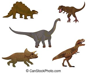 isolated dinosaurs on white background vector design