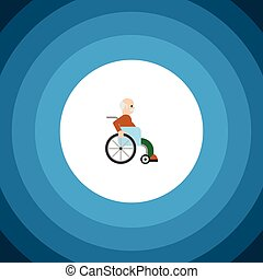 Isolated Disabled Person Flat Icon. Handicapped Man Vector Element Can Be Used For Handicapped, Man, Disabled Design Concept.