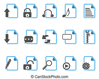 Document icons ,blue series