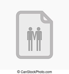 Isolated document with a gay couple pictogram