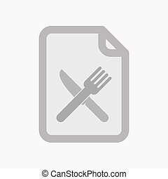 Isolated document with a knife and a fork