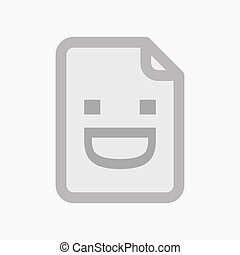 Isolated document with a laughing text face