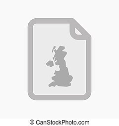Isolated document with a map of the UK