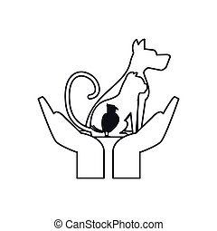 Isolated dog cat and bird over hands design