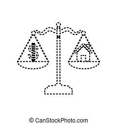 isolated., dom, symbol, dolar, tło., czarnoskóry, vector., ciśnięty, biały, skalpy., ikona