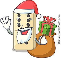 isolated domino with the cartoon santa bring gift