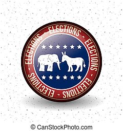 Isolated Donkey and elephant button of vote concept