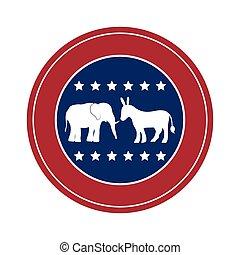 Isolated donkey and elephant of vote design - Donkey and...