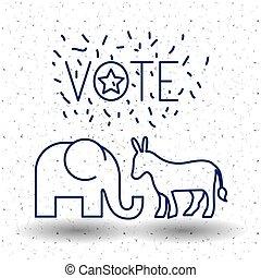 Isolated Donkey and elephant of vote concept