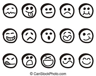 doodle cartoon smiley faces