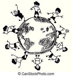 Doodle kids around earth vector