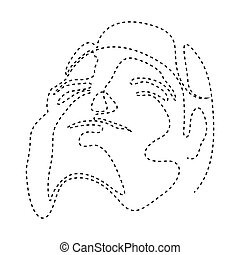 Isolated dotted line beauty simplicity face - Vector