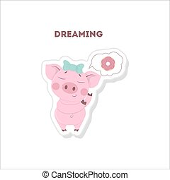 Isolated dreaming pig.