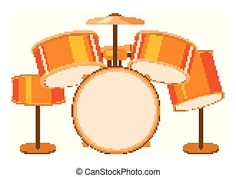 Isolated drumset in orange color illustration