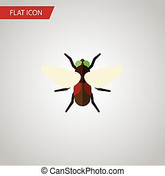 Isolated Dung Flat Icon. Bluebottle Vector Element Can Be Used For Dung, Fly, Bluebottle Design Concept.