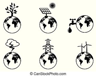 earth resources icons set