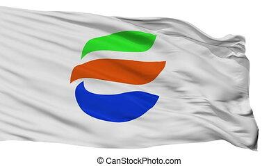 Isolated Echizencity city flag, prefecture Fukui, Japan -...