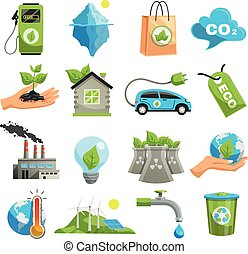 Isolated Eco Icon Set