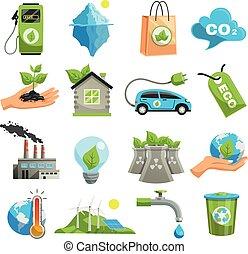 Isolated Eco Icon Set