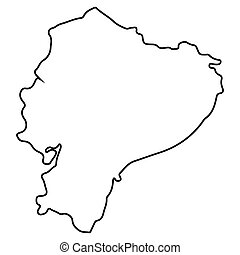 Isolated Ecuador map - Isolated map of Ecuador on a white...