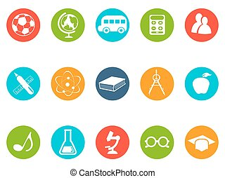 education button icons set