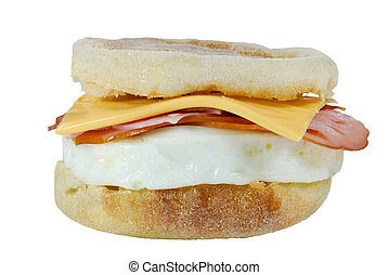 Isolated Egg and Muffin Sandwich on white background