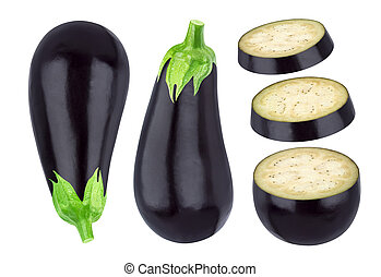 Whole and sliced eggplant isolated on white
