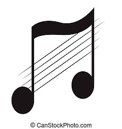 Isolated eighth note on a pentagram. Vector illustration ...
