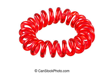 Isolated Elastic Red Spiral Hari Tie - Eelastic red spiral...
