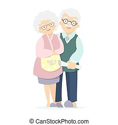 Isolated elderly couple on white background. Happy smiling old man and woman.