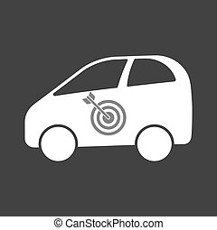 Isolated electric car with a dart board - Illustration of an...