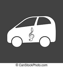 Isolated electric car with a g clef - Illustration of an...