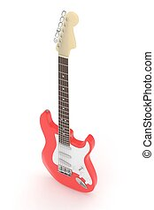 Isolated electric guitar on white. 3D rendering.