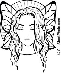 Isolated elegant silhouette graceful fairy with shining . Ornate wings on a background.