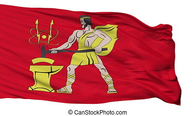 Isolated Elektrostal city flag, Russia - Elektrostal flag,...