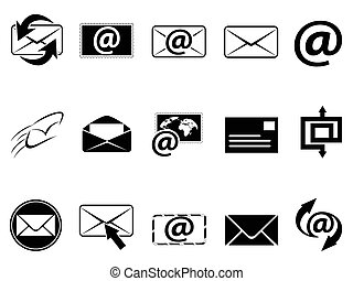 isolated email symbol icons set on white background