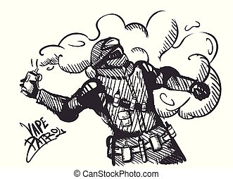 Isolated emblem Vape patrol label. E-cigarette,Special forces with an electronic cigarette instead of smoke grenades.